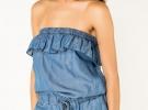 Короткий джинсовый комбинезон без лямок