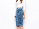 джинсовая юбка миди с белой блузкой
