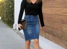 джинсовая юбка с черной кофтой