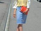 джинсовая юбка с желтой блузкой