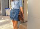 джинсовая юбка с джинсовой рубашкой