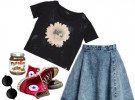 джинсовая юбка с черной футболкой