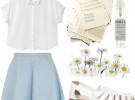 джинсовая юбка и белая рубашка