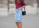 джинсовая юбка и рубашка