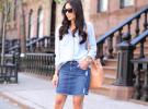 джинсовая юбка со свтелой рубашкой