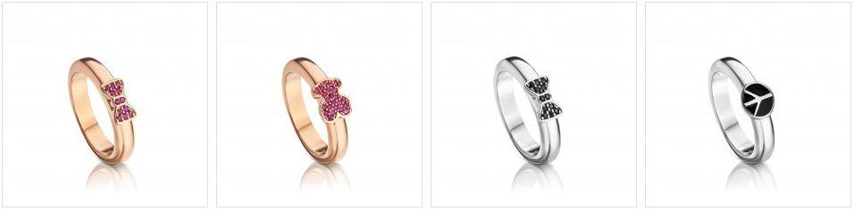 Золотые и серебряные кольца Tous