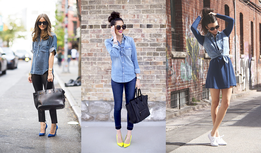 Джинсовая рубашка шикарно смотрится с шортами или юбкой