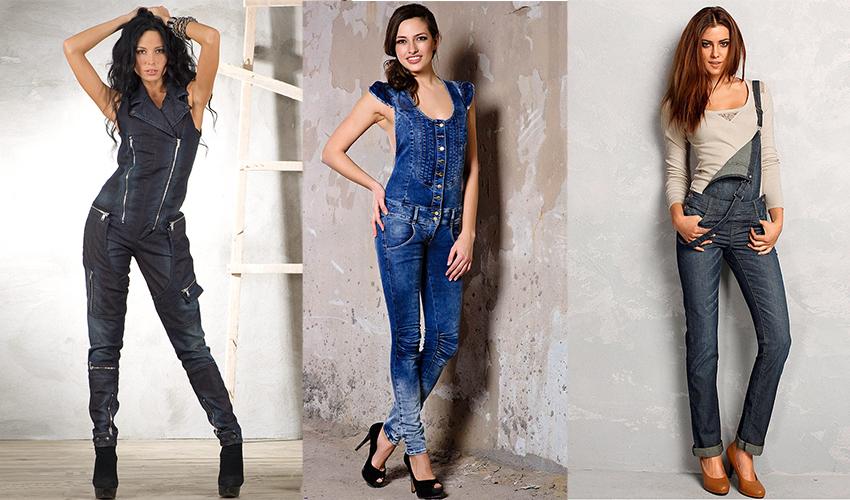 С чем носить джинсовые комбинезоны