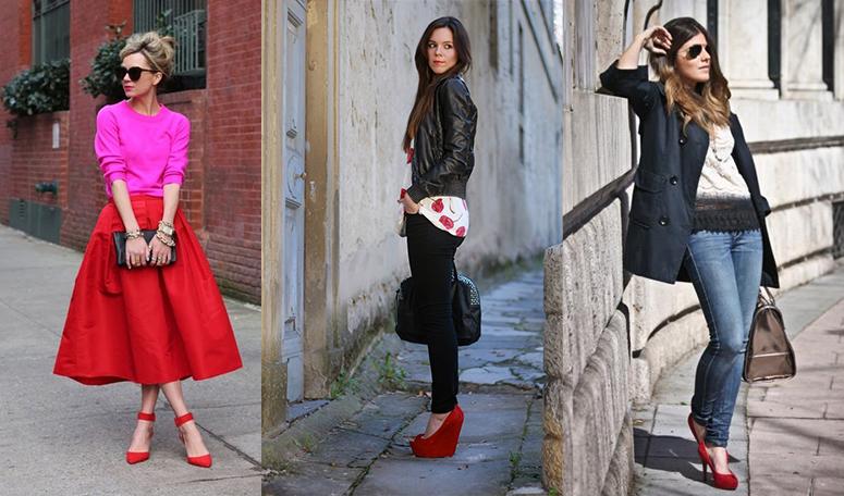 Красные туфли с черным платьем или юбкой - классика на все времена