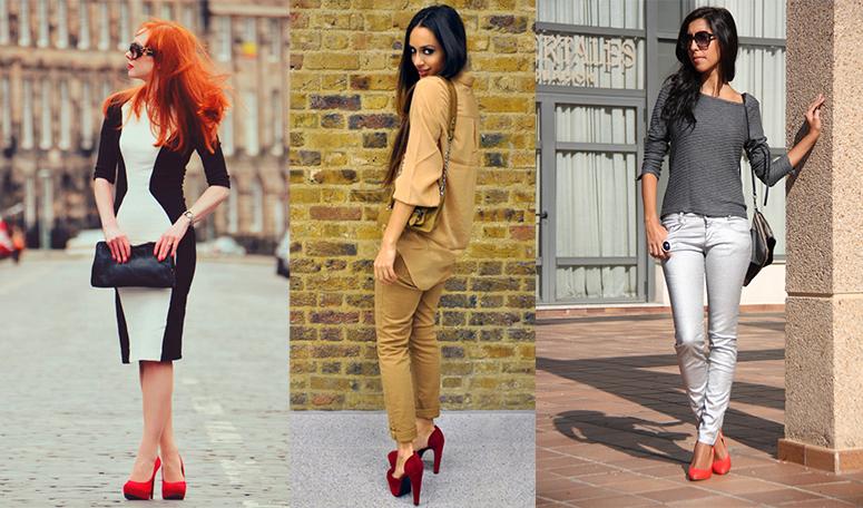 Не рекомендуем носить красные туфли с красным платьем