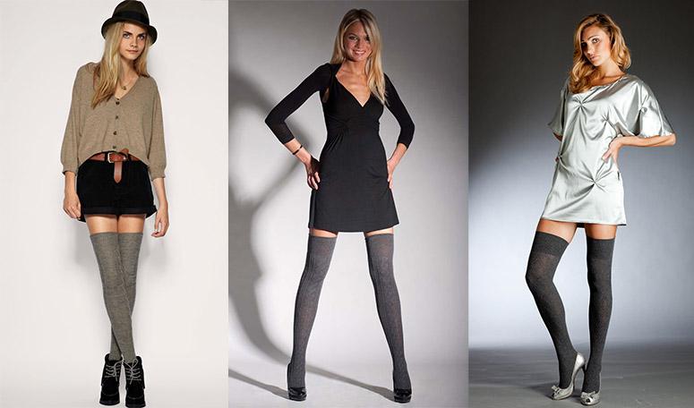 Гетры сочетаются с короткими платьями и юбками