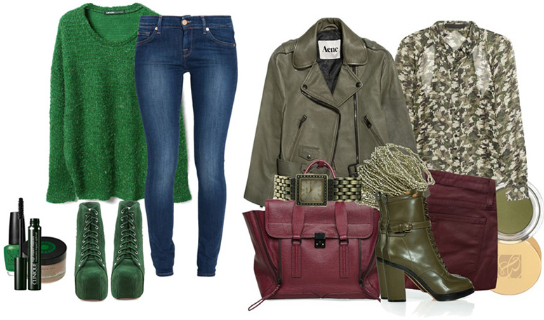 С чем носить зеленые вещи