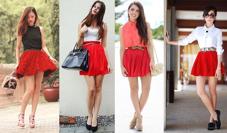 Бежевая юбка и красная блузка