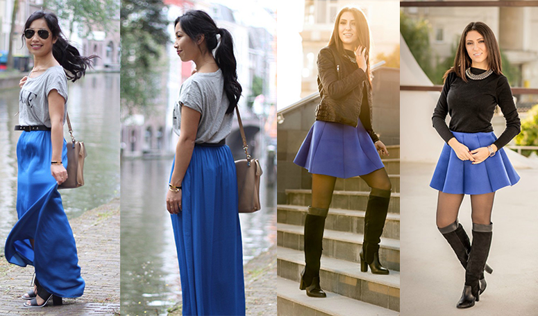 С каким цветом сочетать синюю юбку