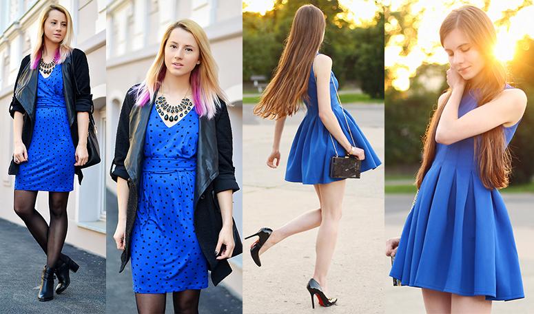 Как правильно синие платье или синее