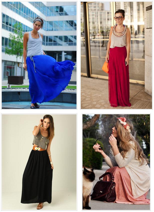 Как носить макси юбку