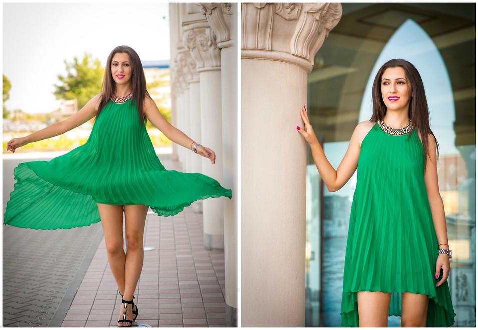 Зеленое платье с чем носить