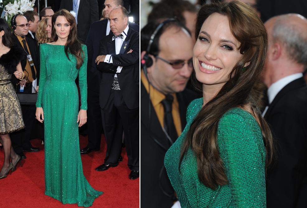 Джоли в зеленом платье