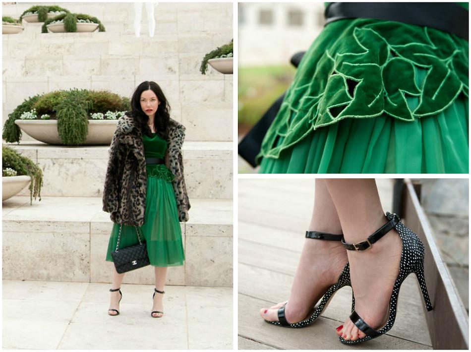 Обувь с зеленым платьем