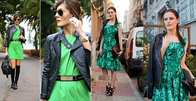 Фасоны зеленых платьев