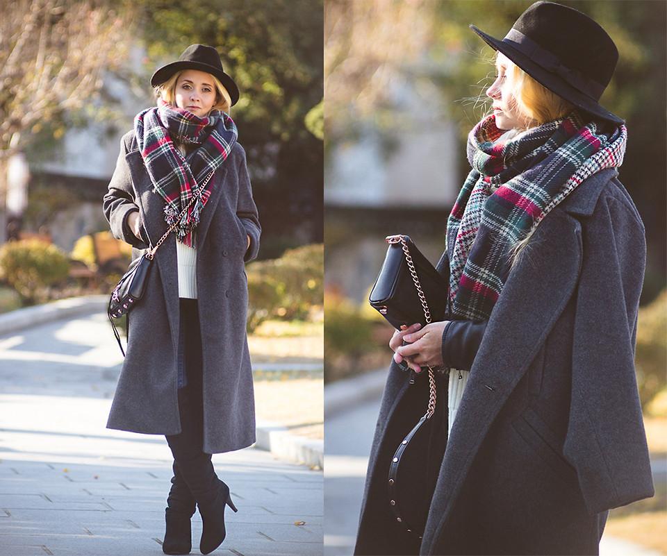 Пальто оверсайз и шляпа