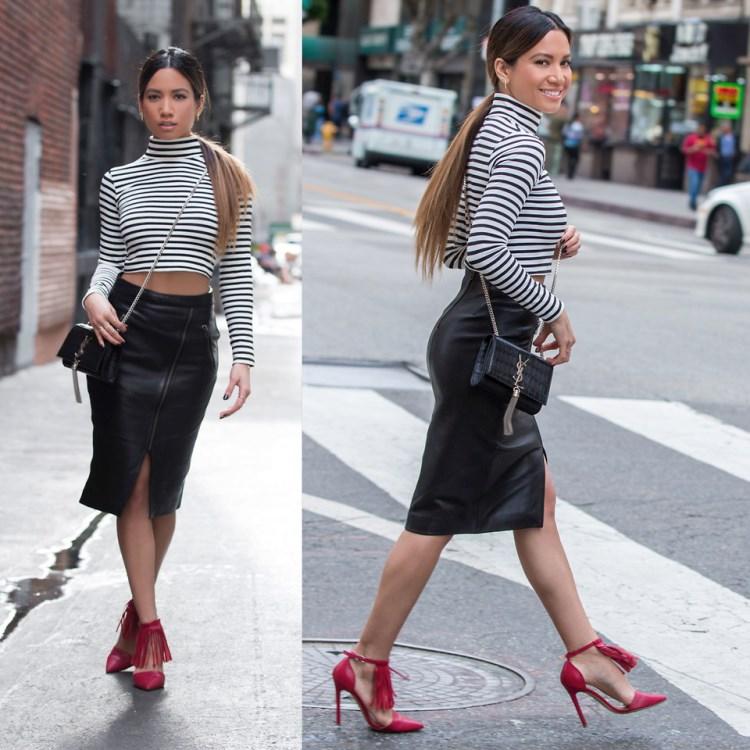 Модный образ с черной юбкой