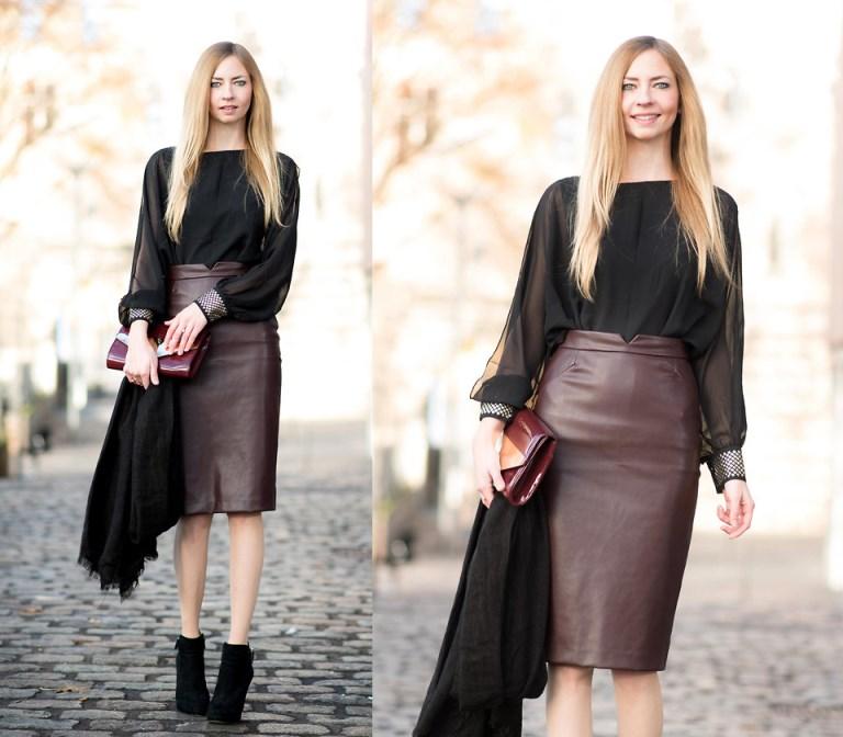 5cc6ce8d087 С чем носить кожаную юбку карандаш - фото и советы стилистов