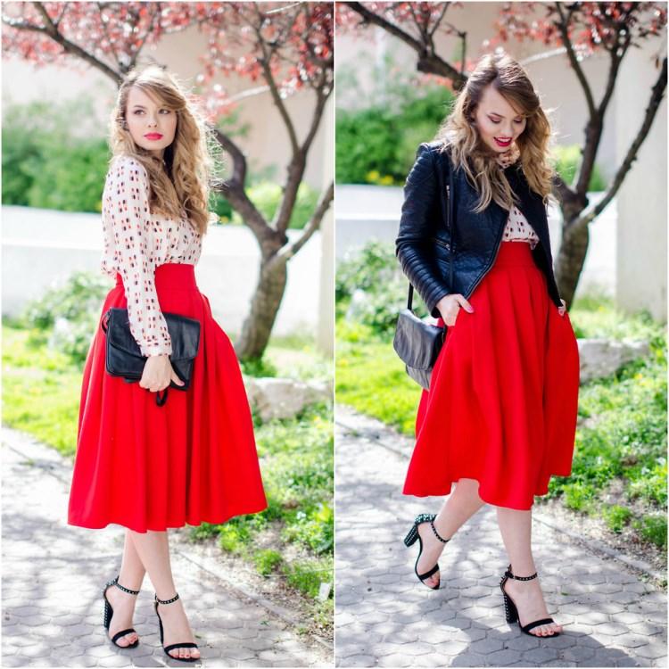 Белый пиджак с красной юбкой
