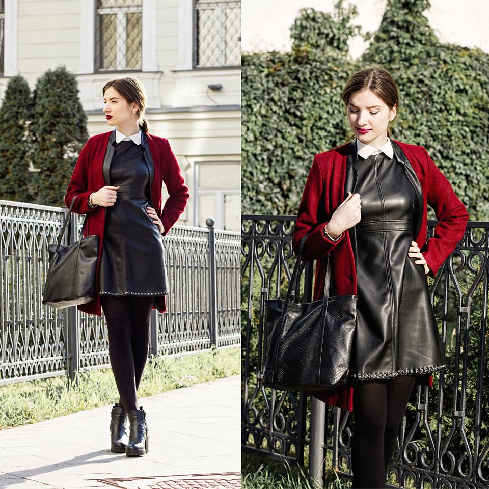 Кожаное платье осенью